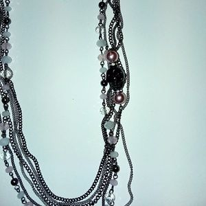Layered silver black skull chain bling necklace